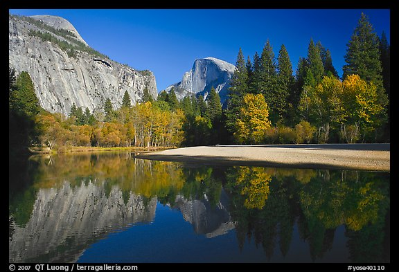 North Dome and Half Dome reflected in Merced River. Yosemite National Park (color)