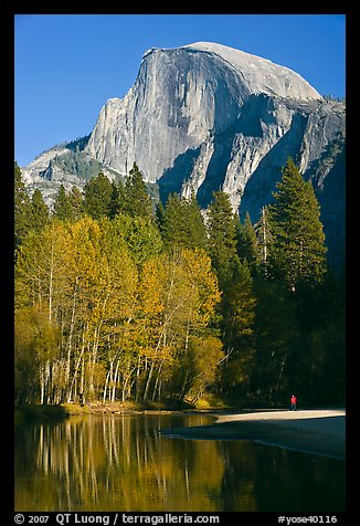 Banks of  Merced River with hiker below Half-Dome. Yosemite National Park (color)