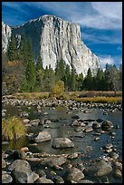 Pebbles, Merced River, and El Capitan, morning. Yosemite National Park, California, USA. (color)