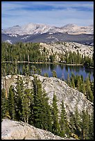 Granite domes and May Lake. Yosemite National Park, California, USA. (color)