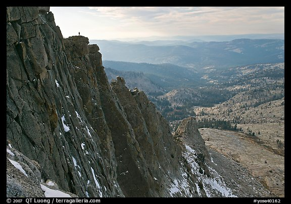 Cliffs on  North Face of Mount Hoffman with hiker standing on top. Yosemite National Park (color)