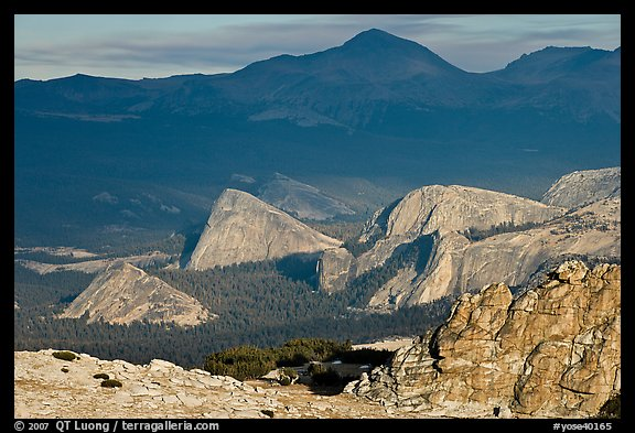 Distant view of Fairview and other domes, late afternoon. Yosemite National Park (color)