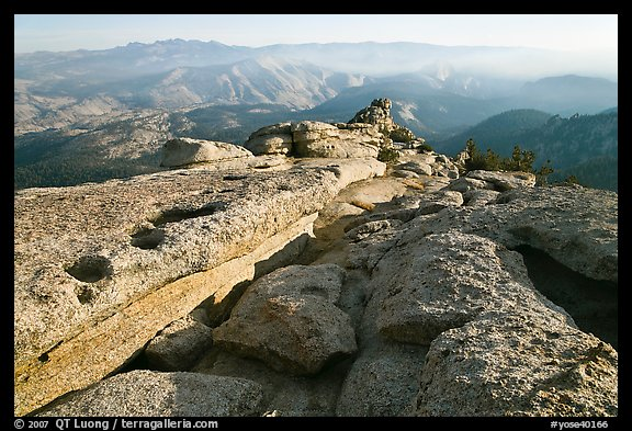 Summit of Mount Hoffman with hazy Yosemite Valley in the distance. Yosemite National Park (color)