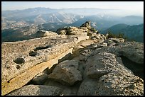 Summit of Mount Hoffman with hazy Yosemite Valley in the distance. Yosemite National Park, California, USA. (color)