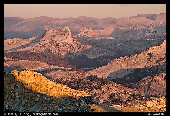 Cathedral Peak in the distance at sunset. Yosemite National Park (color)