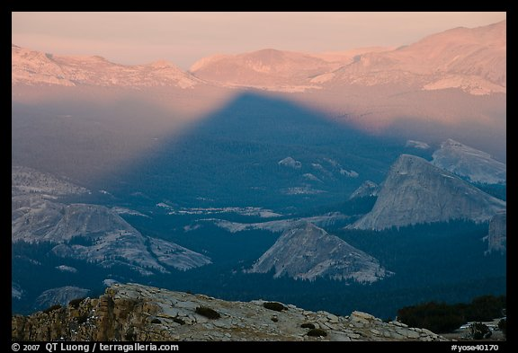 Shadow cone of Mount Hoffman at sunset. Yosemite National Park (color)
