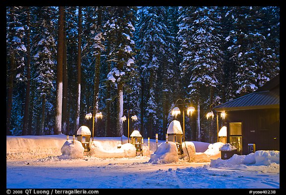 Crane Flat gas station with snow at dusk. Yosemite National Park (color)