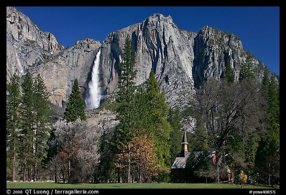 Yosemite Falls and Yosemite Chapel in spring. Yosemite National Park (color)