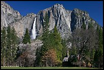 Yosemite Falls and Yosemite Chapel in spring. Yosemite National Park, California, USA. (color)