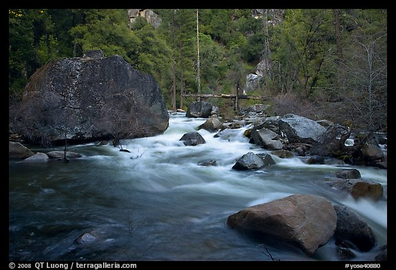 Merced River flowing past huge boulders, Lower Merced Canyon. Yosemite National Park (color)