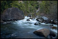 Merced River flowing past huge boulders, Lower Merced Canyon. Yosemite National Park, California, USA. (color)