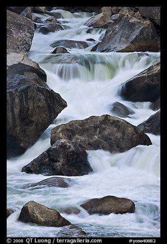 Boulders and rapids, Lower Merced Canyon. Yosemite National Park (color)