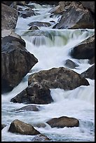 Boulders and rapids, Lower Merced Canyon. Yosemite National Park, California, USA. (color)