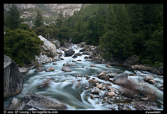 Lower Merced Canyon with wide Merced River. Yosemite National Park (color)
