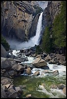 Lower Yosemite Falls in springtime. Yosemite National Park, California, USA.