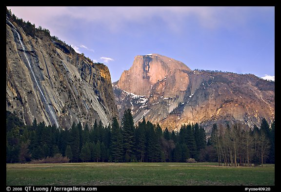 Seasonal waterfall and Half-Dome from Awhanhee Meadow. Yosemite National Park (color)