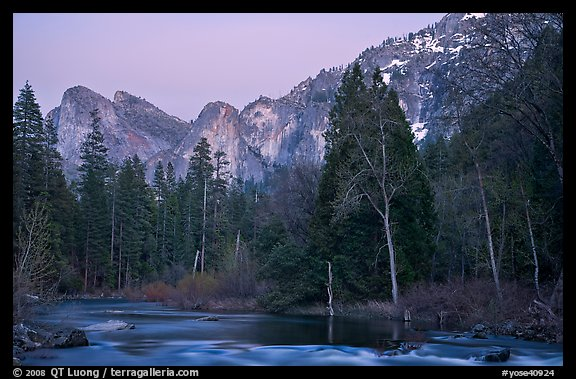 Merced River and Cathedral rocks at dusk. Yosemite National Park (color)