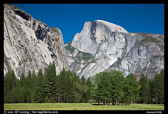 Half Dome and Washington Column from Ahwanhee Meadow in Spring. Yosemite National Park (color)