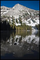 Tenaya Peak reflected in Tenaya Lake, early spring. Yosemite National Park, California, USA.