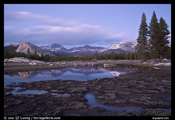 Tuolumne Meadows with domes reflected in early spring, dusk. Yosemite National Park (color)