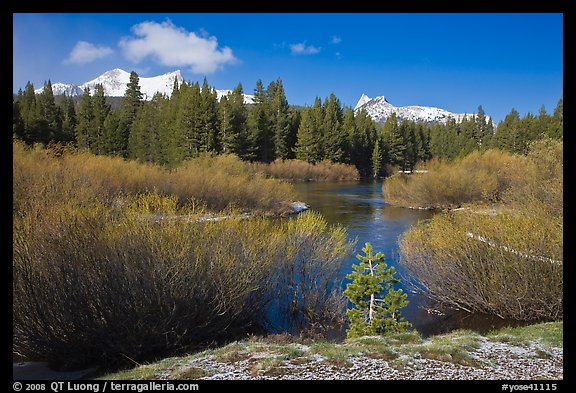 Fresh snow, stream, and Cathedral Peak. Yosemite National Park (color)