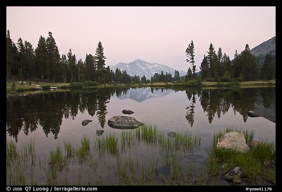 Alpine tarn near Tioga Pass and reflections at sunset. Yosemite National Park (color)