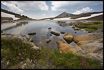 High alpine basin with Gaylor Lake. Yosemite National Park, California, USA. (color)