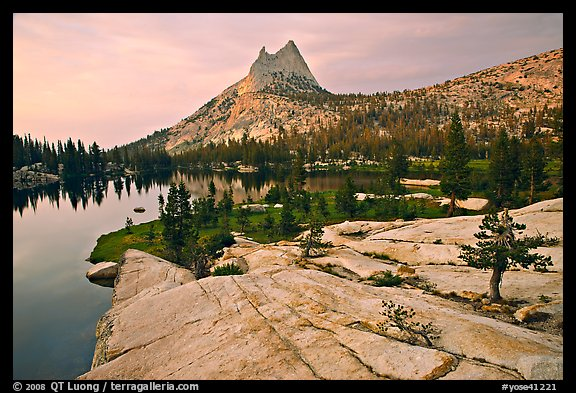 Granite slab, Upper Cathedral Lake, and Cathedral Peak, sunset. Yosemite National Park (color)