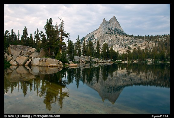 Upper Cathedral Lake and Cathedral Peak at dusk. Yosemite National Park (color)