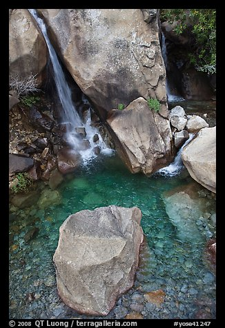 Boulder and emerald waters in pool, Wapama Falls, Hetch Hetchy. Yosemite National Park (color)