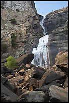Boulders, Wapama Falls, and rock wall, Hetch Hetchy. Yosemite National Park, California, USA.