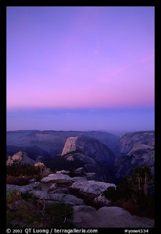 Half-Dome and Yosemite Valley under  pink hues of dawn sky. Yosemite National Park (color)