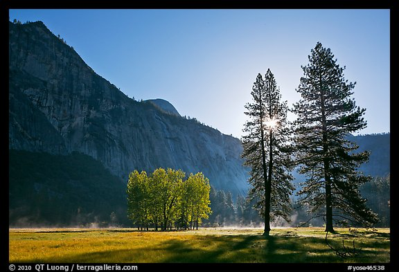 Sun and Ahwanhee Meadows in spring. Yosemite National Park (color)