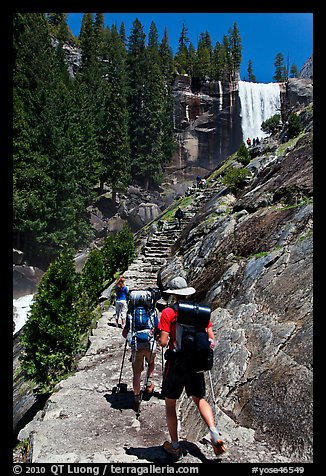 Backpackers on Mist Trail. Yosemite National Park (color)
