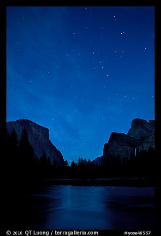 Yosemite Valley at night with stary sky. Yosemite National Park (color)