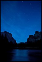 Yosemite Valley at night with stary sky. Yosemite National Park, California, USA. (color)