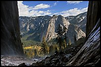 Cathedral Rocks and El Capitan Meadows from base of Ribbon Falls. Yosemite National Park ( color)
