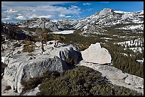 Granite outcrops and distant Tenaya Lake in the spring. Yosemite National Park, California, USA. (color)