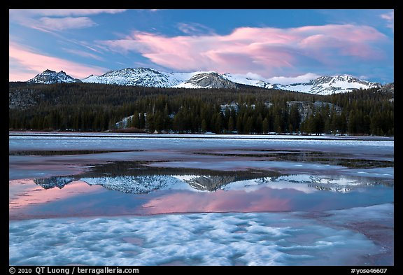 Peaks reflected in snow melt pool, Twolumne Meadows, sunset. Yosemite National Park (color)