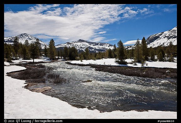 Creek flowing in snow-covered high country landscape. Yosemite National Park (color)