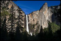 Bridalveil Fall and leaning tower, late afternoon. Yosemite National Park, California, USA.