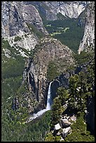 Bridalveil Fall and Yosemite Valley from South Rim. Yosemite National Park ( color)