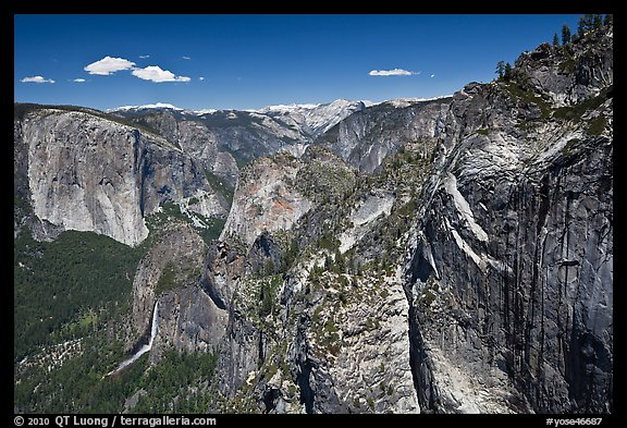 View of Bridalveil Fall and Yosemite Valley from Crocker Point. Yosemite National Park (color)