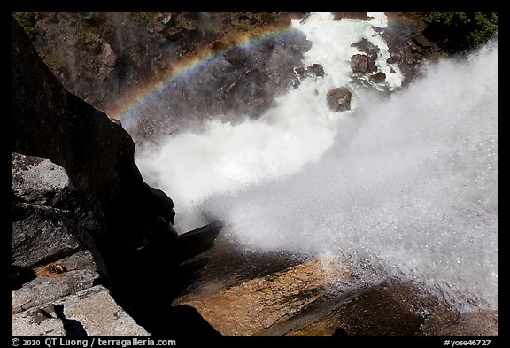 Vernal Fall and rainbow from the brinks. Yosemite National Park (color)