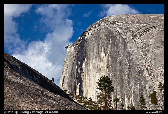 Hiker near Diving Board and Half-Dome. Yosemite National Park (color)