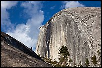Hiker near Diving Board and Half-Dome. Yosemite National Park ( color)