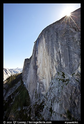 Sunburst at the top of Half-Dome face. Yosemite National Park (color)