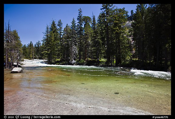 Merced River flowing over smooth granite. Yosemite National Park (color)