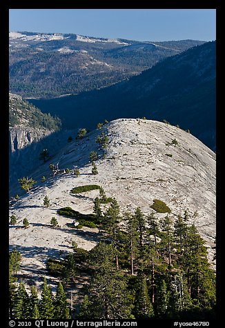 Smooth and rounded North Dome. Yosemite National Park (color)