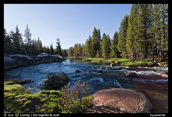 Lyell Fork of the Tuolumne River, afternoon. Yosemite National Park (color)